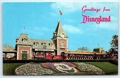 Postcard CA Disneyland Train Station Vintage Photo View Mickey Topiary E1