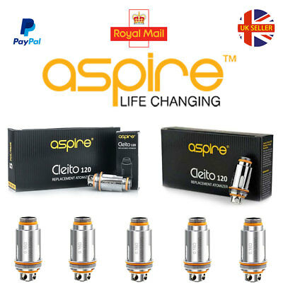 ASPIRE CLEITO 120 COILS (Box 5) Authentic Replacement Coil Heads, 0.16ohm, UK