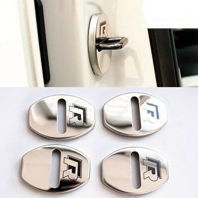 4 Pieces R Line Rline Car Door Lock Cover Alloy Chrome Silver Buckle For VW