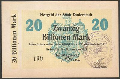 German Notgeld Duderstadt 20 billionen mark 1923