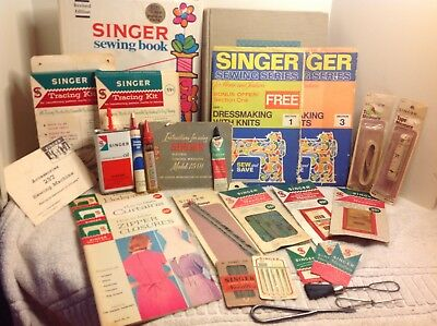 HUGE Lot of Antique Vintage SINGER SEWING ITEMS Notions, Books, Tools + More