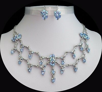 Flowers Style Party Necklace & Earrings Set, Peridot Australia Crystal  N3070G