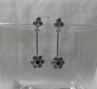 Fashionable Flower Dangle Earrings with Sapphire Crystals E1219
