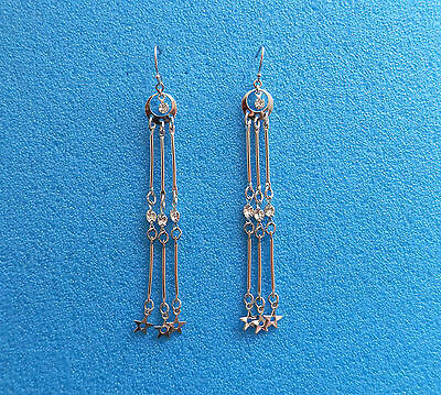 Vintage Long Chandelier Earrings With Clear Rhinestones E2247