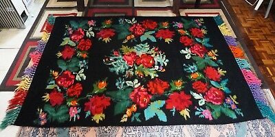 Antique Hand Knotted Wool Area Rug - Eastern European Floral - 84 X 56 Inch Wide