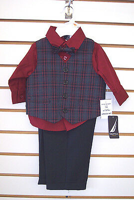 Infant Boys Nautica $49.50 Navy/Dark Red 4pc Suit w/ Bow Tie Size 12mo - 24 mo