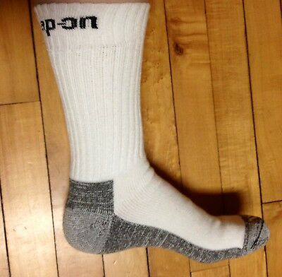1 Pair Men's White Snap On Crew Socks L ~ FREE Shipping ~ MADE IN USA     New!