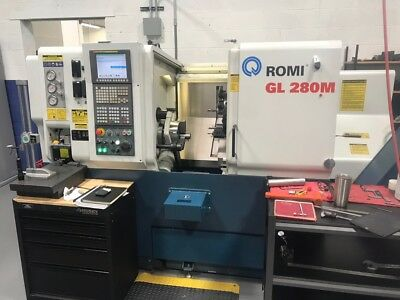 "Used 2013 Romi GL 280M Turning Center Lathe Live Tool Fanuc Tailstock 10"" Chuck"