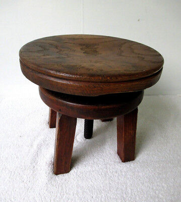 "Antique Stool Primitive, Small Oak Wood Adjustable Seat 10""-15-1/2"" Tall, Bench"