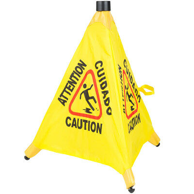 """6 PACK Restaurant Caution 20"""" Pop Up Wet Floor Yellow Folding Sign Commercial"""