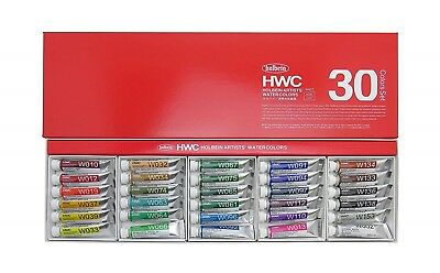 Holbein Artists Transparent Watercolor W407 30 Colors Set 5ml Tubes HWC30