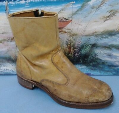 Iron Age Distressed Brown Leather Zip Steel-Toe Ankle Boot Men's U.S. 10.5D
