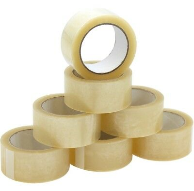 12 Rolls Of Buff Clear Parcel Packing Tape Packaging Carton Sealing 48Mm X 66M