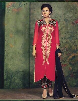 Diya Mirza Pink Georgette Pakistani Style Straight Suit Bollywood Indian Kameez
