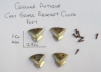 Four Genuine Antique Cast Brass Bracket Clock Feet Fully Polished
