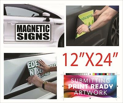 "12"" x 24"" Custom Car Magnets Magnetic Auto Truck Van Car Signs 12inch X 24inch"