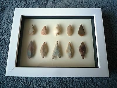 Neolithic Arrowheads in 3D Picture Frame, Authentic Artifacts 4000BC (0888)
