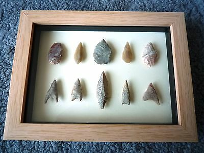 Neolithic Arrowheads in 3D Picture Frame, Authentic Artifacts 4000BC (0867)
