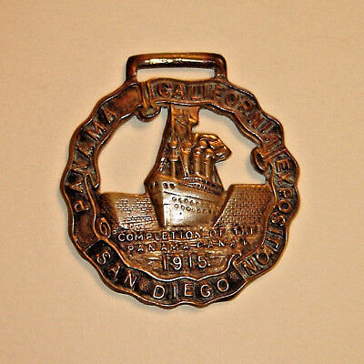 Antique 1915 Pan-Pacific Exposition BRASS POCKET WATCH FOB - Panama Canal