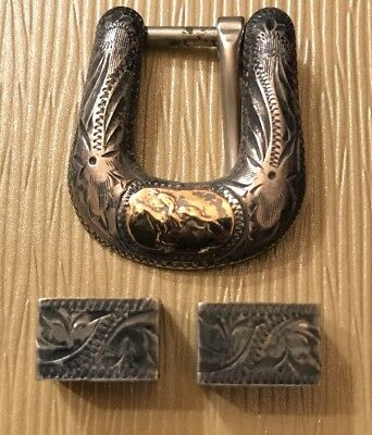 Don Ricardo Vintage Western Americana 3pc Sterling Silver & 10K Gold Buckle Set