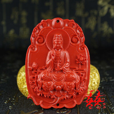 Natural Red Cinnabar Carving Lacquer Chinese Buddha Kwan-yin Pendant Necklace