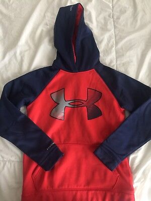 Under Armour Sweatshirt Hoodie YLG Red Navy Hooded Large Youth Boys