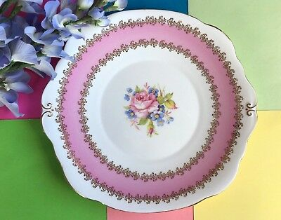 Vintage Harleigh Bone China, Pink & Gold Lace Filigree, Large Tea Set Cake Plate