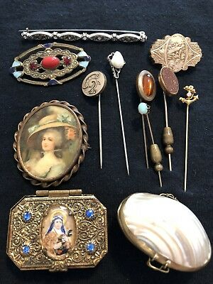 Lot Of Antique & Vintage Brooches Stick Pins Trinket Boxes Opals Pearl