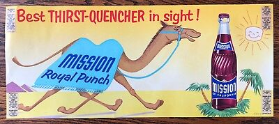 MISSION Royal Punch SODA California CAMEL Advertising Paper Window Sign Vintage