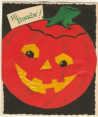 SUPER Vintage Halloween Greeting Card ca 1950 Die Cut Jack O Lantern JOL Buzza-