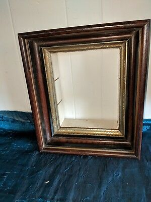 """Antique Victorian Walnut Deep Shadow Box Frame 14 x 12  Holds 9 1/4"""" by 7 3/8"""""""
