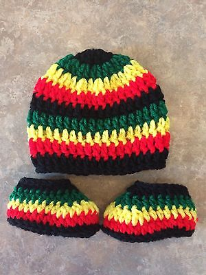 Rasta Crochet Hat & Booties Shoes newborn - 3 Month Baby Boy Girl Photo Prop