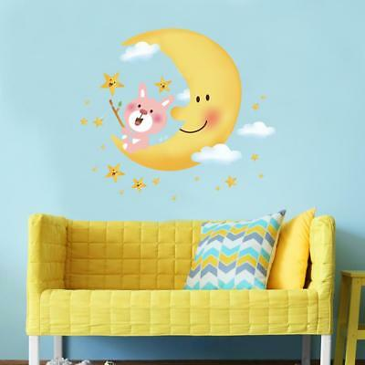 Large Beautiful Cute Bear On The Moon Surrounded By Stars Nursery Room Wall Deca