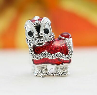 Authentic Pandora Chinese Lion Dance Silver Charm 792043CZ New Year Celebration