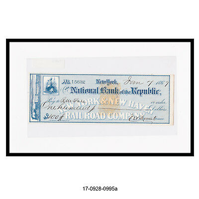 1867 The National Bank of The Republic Bank Check (Railroad Check)