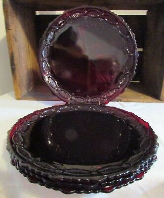 "Avon Ruby Red 1876 Cape Cod Collection 10 3/4"" Dinner Plates Set of 4 Nice"