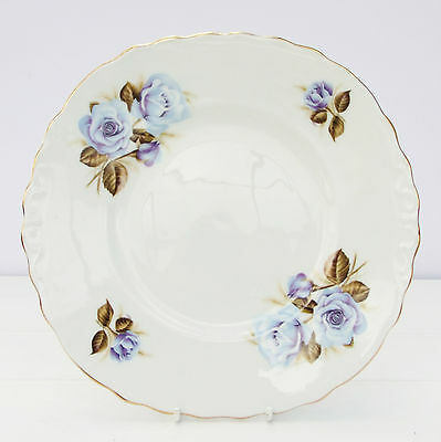 Vintage Crown Royal Bone China Cake Plate Floral Blue Roses