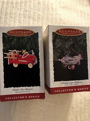 HALLMARK ORNAMENTS KIDDIE CAR CLASSIC  #2 and #3 LOT OF 2
