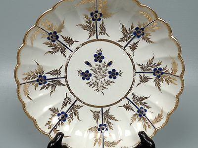 English Worcester Porcelain Scalloped Low Bowl W Gold & Blue Flower Decor - PC