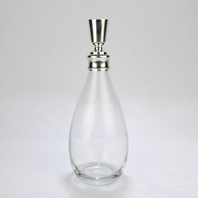 Mid-Century Modern Hawkes Crystal and Sterling Silver Decanter or Bar Bottle
