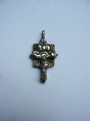 Antique Balkan Orthodox Cross-Pendant-Byzantine Style-Silver Alloy-17/18Th C