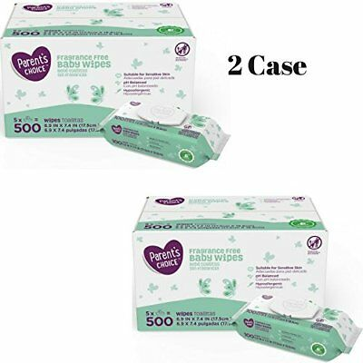 Parent's Choice Fragrance Free Baby Wipes, 500 count 5 packs of 100 2 Case