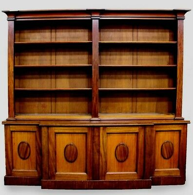 SUPERB c19th ANTIQUE ENGLISH BREAKFRONT BOOKCASE WITH CUPBOARDS + OPEN SHELVES
