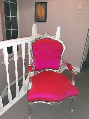Pink Silver Louis Chair