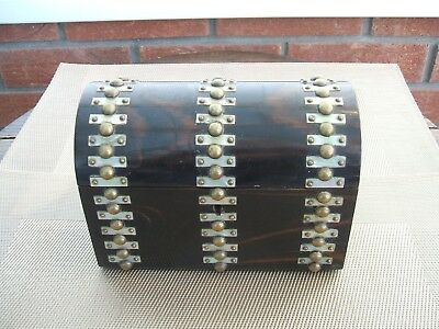 Antique Victorian Dome Top Tea Caddy / Ebony / Mother Of Pearl