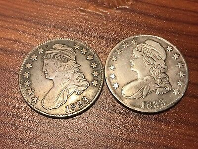 1823 Ugly 3 And 1833 Capped Bust Half Dollars
