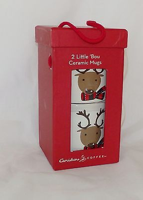 2 Caribou Coffee Little 'Bou Ceramic Mugs Holiday Favorites From 2010 New in Box