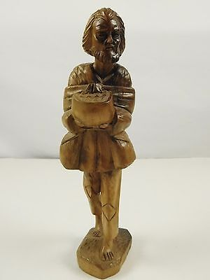Old Man Hand Carved Iron Wood Equador Art Sculpture Statue Figurine 11 Inches