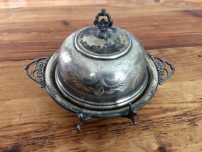 VAN BERGH SILVER CO. Quadruple Plate Covered Butter Dish with Glass Plate