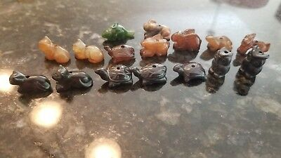 Antique Chinese Carved Carnelian Jade Animal Stone Asian Beads Black Green Brown